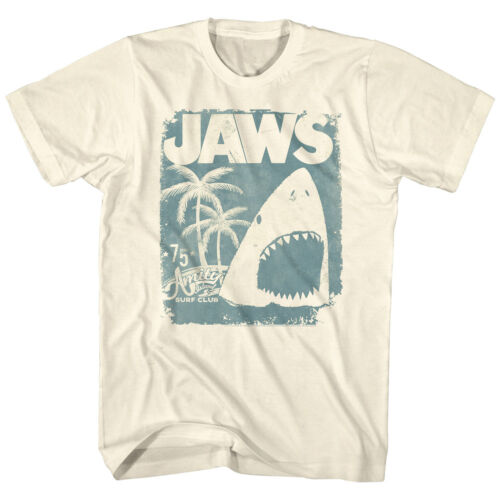 Jaws T-Shirt Distressed Surf Club Poster Natural Tee