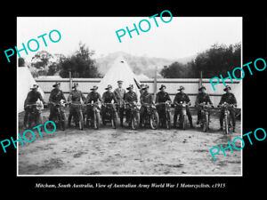 OLD-POSTCARD-SIZE-PHOTO-MITCHAM-SA-THE-WWI-ARMY-MILITARY-MOTORCYCLES-1915