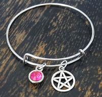 Personalized Pentagram Bangle Bracelet - Choose A Birthstone