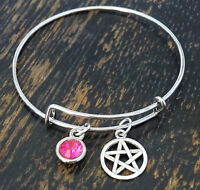 Personalized Pentagram Bangle Bracelet - Choose A Birthstone
