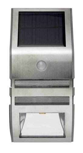 LED Solar Wandlampe Edelstahl warmweiße LEDs Bewegungsmelder 50 Lumen *Top*