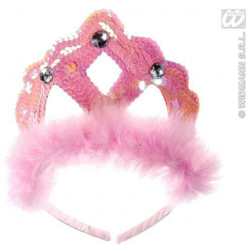 Pink Sequin Tiara With Gems Princess Fairy Fancy Dress Costume Accessory