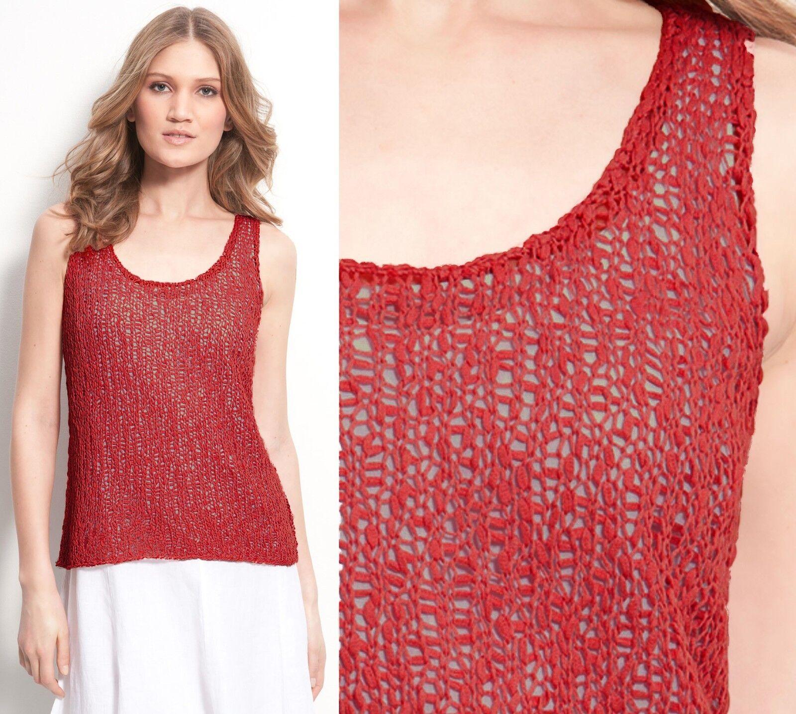 Eileen Fisher Cotton Tape Nubble U-Neck Strawberry rot Knit Tank Top