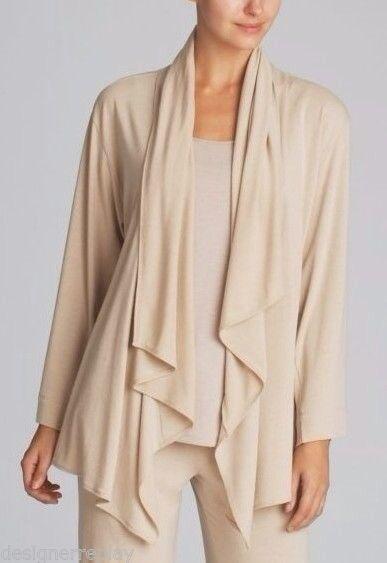 Natori WATERFALL Beige Cashmere Heather Modal Blend Jersey Knit Cardigan - XL