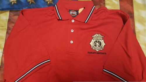 L HARLEY DAVIDSON FIREFIGHTER RED SPORT POLO SHIRT NEW