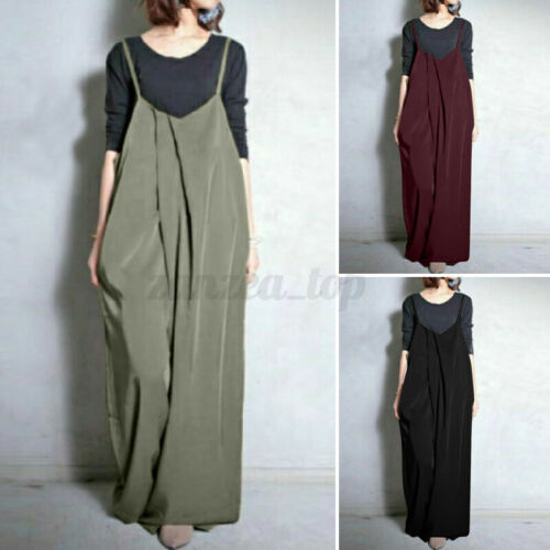 Women Casual Wide Legs Pants Overalls Dungaree Jumpsuit Romper Long Trousers NEW