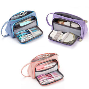Big Capacity Colored Storage Pouch Marker Pen Pencil Case Stationery Bags #BE