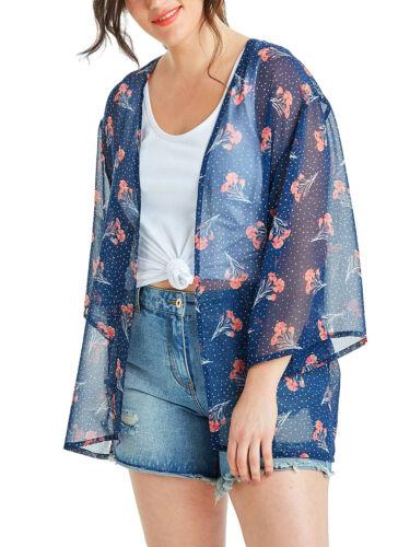 Capsule Navy Floral Print Boxy Chiffon Kimono Plus Sizes 26-32 Beach Holiday