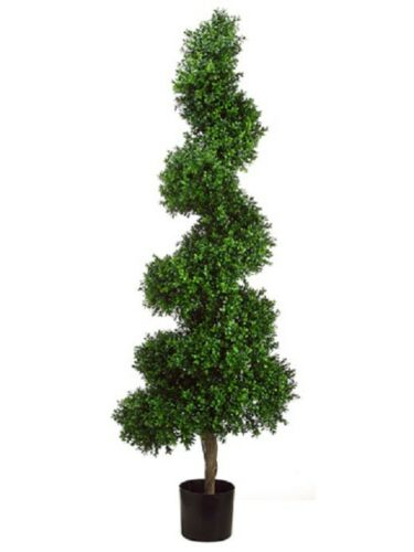 5.5' Spiral Boxwood Artificial Topiary in Pot Tree plant Indoor Outdoor Pool 270