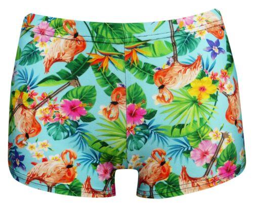 Retro Tropical Jungle Floral Flowers Flamingo Vintage Printed Hot Pants Shorts