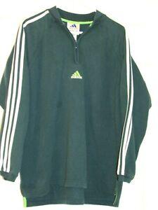 Details about Adidas Men's Pullover Fleece Jacket Vintage Green Half Zip Size Large