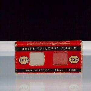 Vintage Tailors Chalk 4 Pieces 1949 Dritz No 629 Red Blue White Original Box