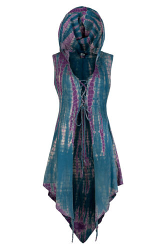 Steampunk hooded tie dye waistcoat trance festival clothing up to Plus size