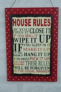 House Rules Slate Plaque Funny You Open It Close It Sign Red Polka