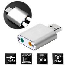 USB 2.0 3D Soundkarte Sound card Audio 7.1 Kanal Konverter Adapter PC Window Mac