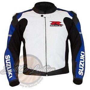 SUZUKI-1078-Azul-Moto-Motociclista-Cuero-Carreras-Chaqueta-de-piel-autentica