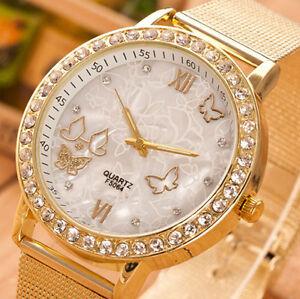 Butterfly-Crystal-Gold-Ladies-Women-Girl-White-Bracelet-Quartz-Wrist-Watch-Gift
