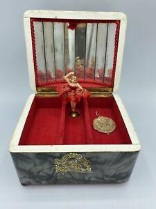 Vintage German Wind-Up Music Box Jewelry Casket w/ Dancing Ballerina
