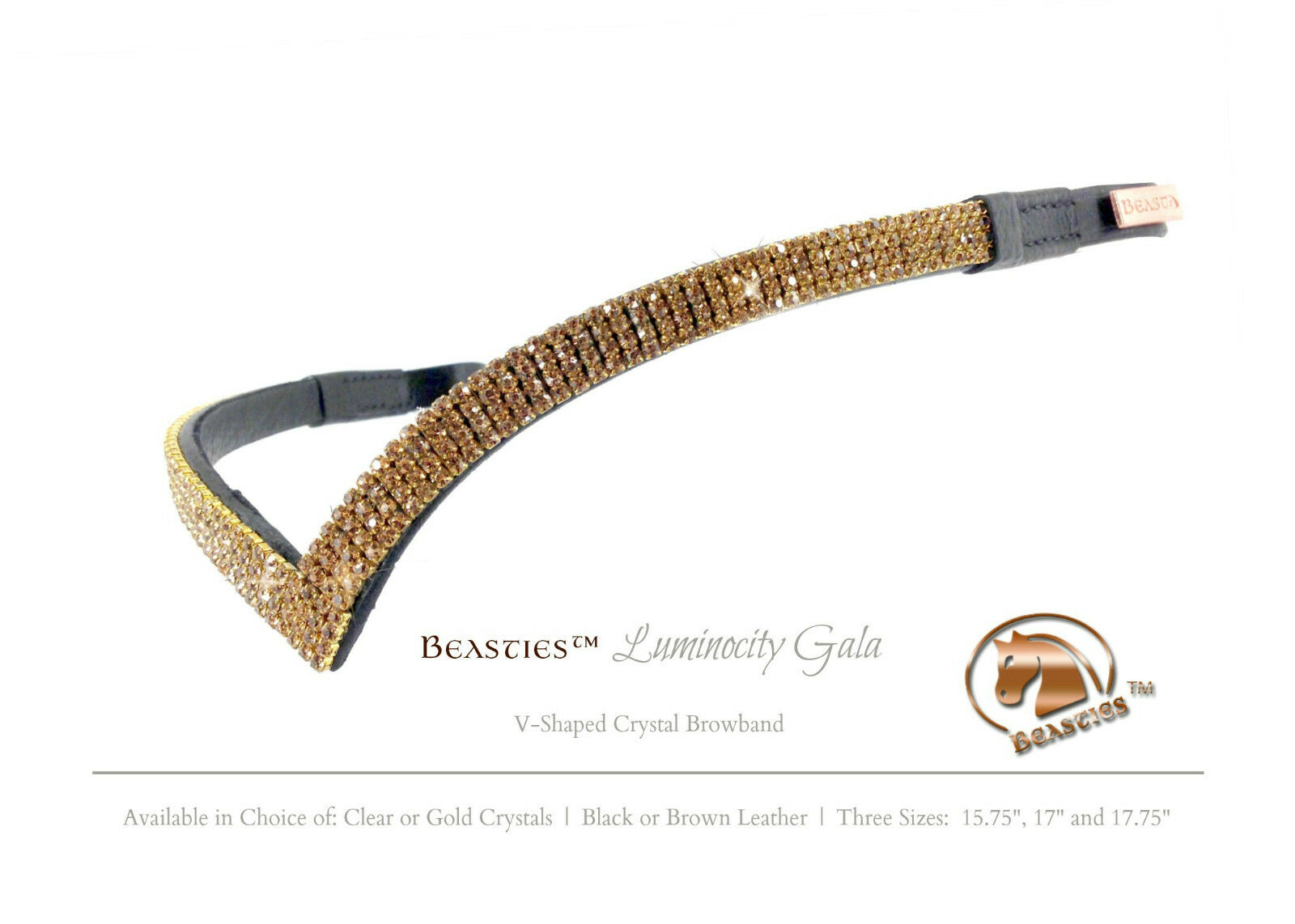 Gold/Blk. Luminocity V Dressage Shape Crystal Dressage V Bridle Browband Größe: Horse 15.75