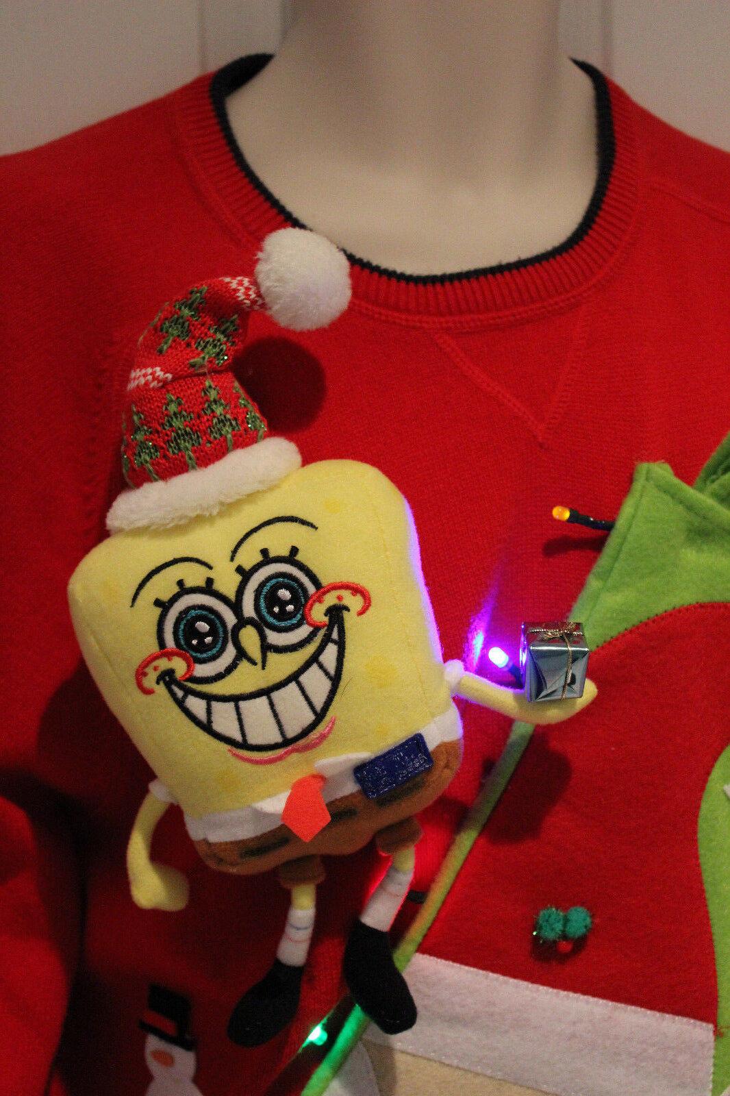 Herren Ugly Christmas Sweater Spongebob & SANTA Größe  XL 15D222  Lights UP