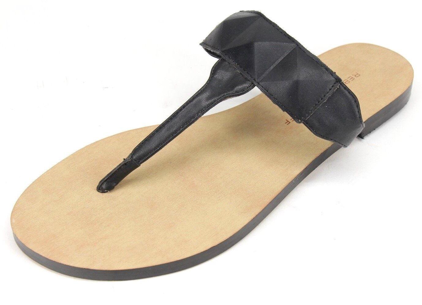Rebecca Minkoff Eloise Black Leather Flip Flop Sandal Pyramid Strap Size US 7 M