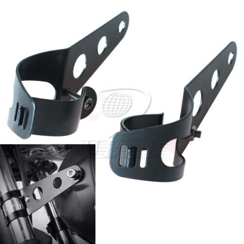 Black Headlight Mount Brackets Fork Ears Motorcycle Chopper Cafe Racer 35mm-43mm