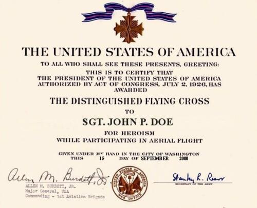 DISTINGUISHED FLYING CROSS  REPLACEMENT CERTIFICATE ON 24 LB PARCHMENT PAPER