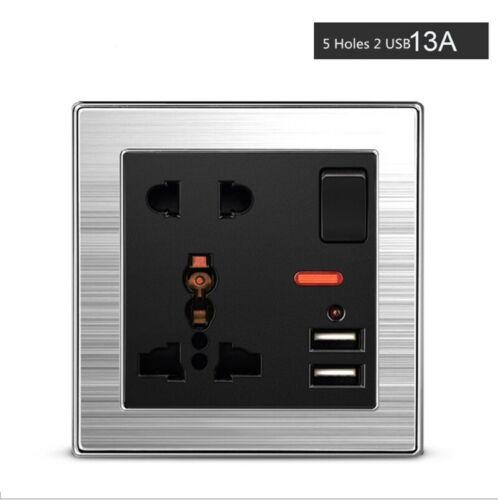 UK US EU AU Mains 13A 2 Gang Double Power Wall Socket Plate USB Charge Outlet