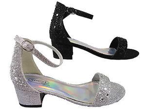 b83b7738ada8 Image is loading Girls-Bridesmaid-Low-Block-Heel-Shoes-Diamante-Party-