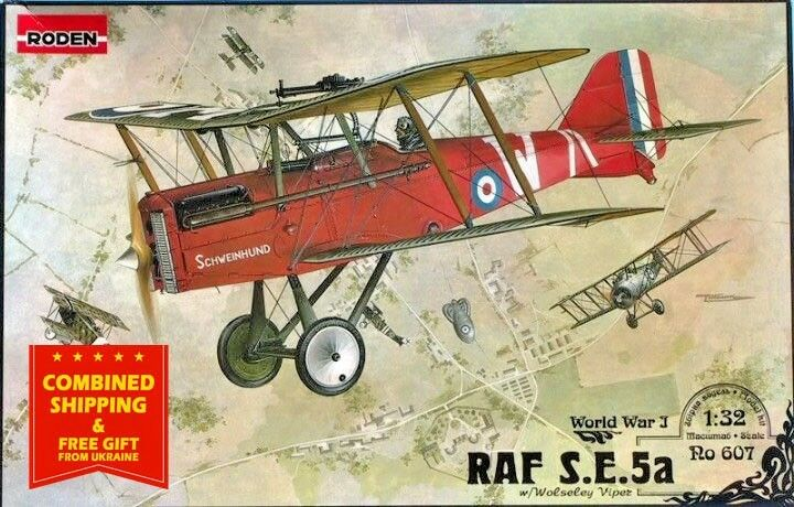 RAF S.E.5A (W WOLSELEY VIPER) BRITISH FIGHTER World War I 1 32 sacle RODEN 607