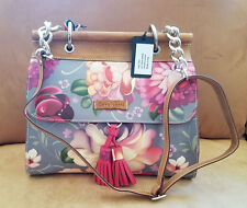 Cavalcanti (ITALY) 100% Leather Floral Print Handbag Purse color Multi NEW