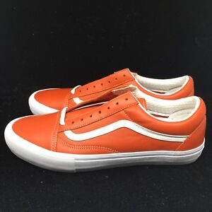 Vans Vault Old Skool VLT LX Italian Leather Mens Orange Mango ... 9a493d61b