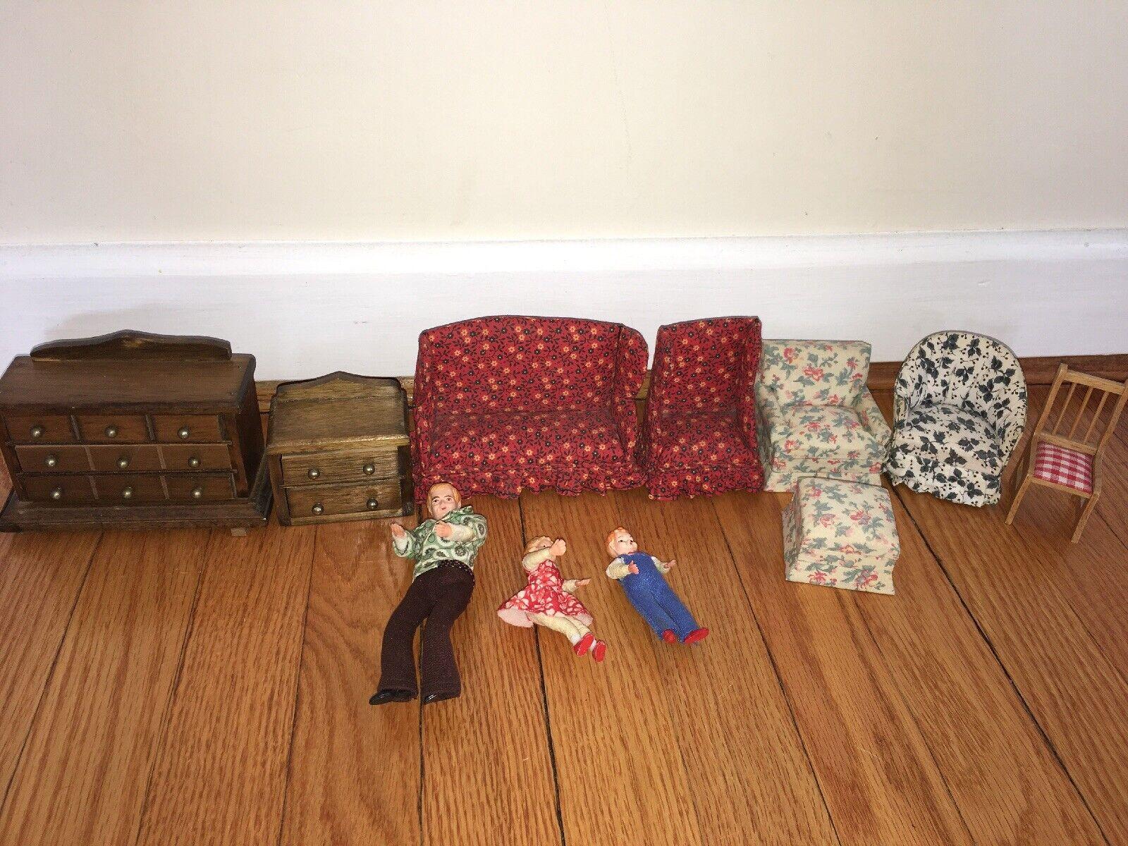 Lote De Vintage muñeca casa muebles y figuras Concord miniatura sofá De Madera