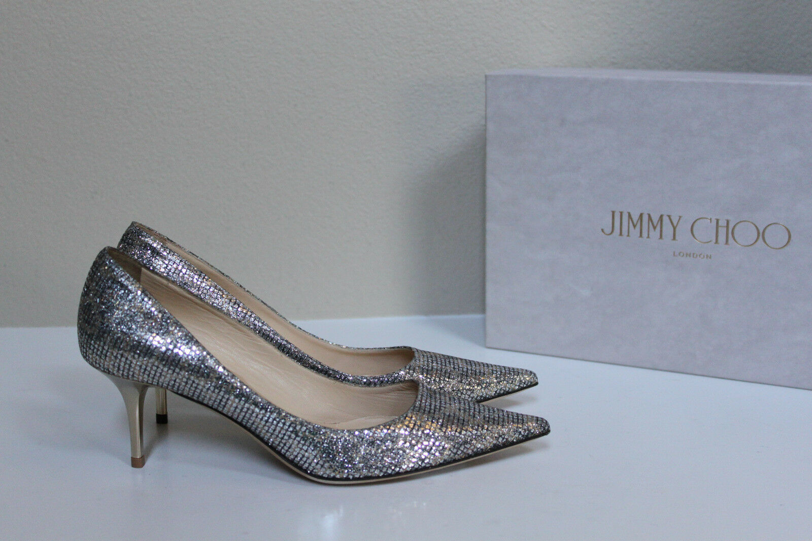 in vendita scontato del 70% New 7.5 7.5 7.5   37.5 Jimmy Choo Aurora Leopard print glitter fabric Pointed Pump Shoe  vendita economica