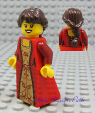 NEW Lego Pirates Brown Hair FEMALE MINIFIG Red & Gold Dress/Skirt Princess Girl