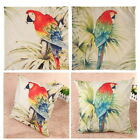 Parrot Cushion Cover Pillow Case Cotton Throw Linen Vintage Home Sofa Decor 18""