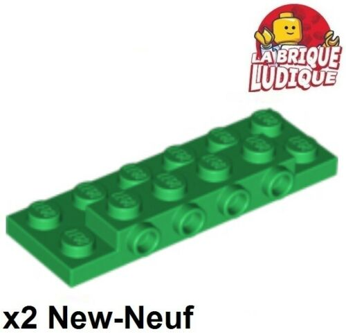 2x Plate Modified 2x6 x2//3 with 4 Studs on Side vert//green 87609 NEUF Lego