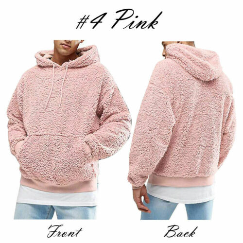 UK Stock Mens Casual Fluffy Hoodie Sweatshirt Pullover Fashion Sweater Jumper