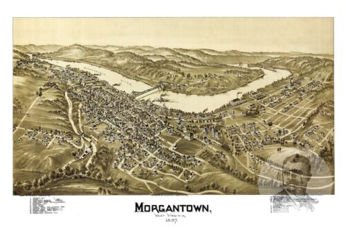 WV from 1897 Historic Decor Old Map of Morgantown Vintage West Virginia Art