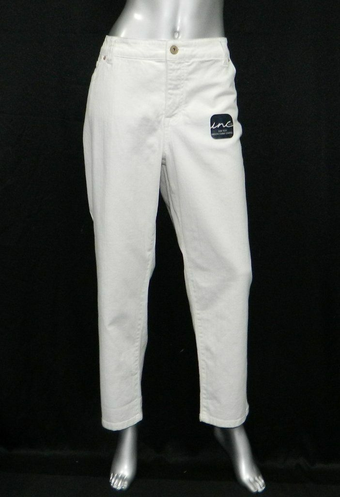 INC DENIM PETITE NEW White Slim Tech Fit Skinny Leg Jeans Plus sz 24WP