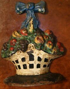 Rare-Old-Beautiful-Antique-Fruit-Basket-Cast-Iron-Doorstop-Great-Color-Paint
