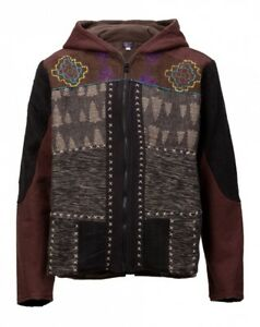 New Mens Tribal Hooded Patchwork Jacket Fleece Lined up to Plus Size