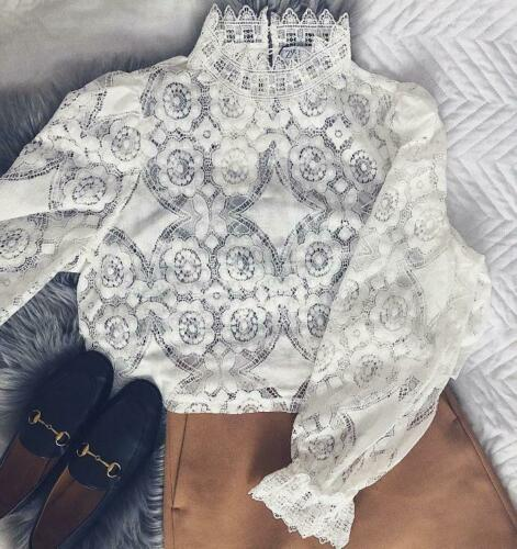 Zara Bloggers Fave Off White Combined Lace Top High Neck Cotton Victorian Blouse