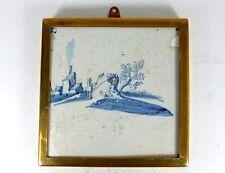 Alte Kachel, Fliese, Messingrahmen. Aus einer Sammlung