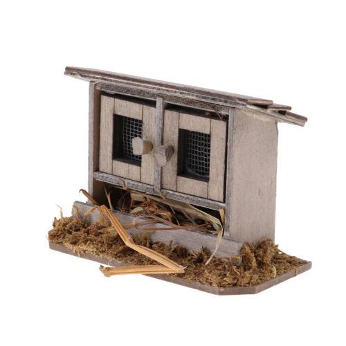 1/12 Vintage Miniatures Dollhouse Wooden Simulation Chicken Coop Decoration