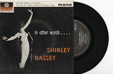 """SHIRLEY BASSEY - IN OTHER WORDS - EP 7"""" 45 VINYL PIC SLV 1963"""