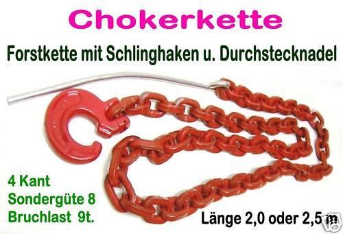Schlinghaken Nadel Forstkette 2.5m 4-Kant 8mm Rückekette G8 9t Chokerkette m