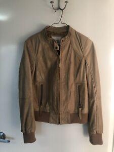 Gorgeous-BERSHKA-Genuine-Leather-Beige-Jacket-Sz-L-As-New-RRP-395