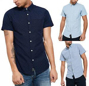 b1da9b070058 Threadbare Men's New Simon Short Sleeve Printed Pattern Shirt Blue ...