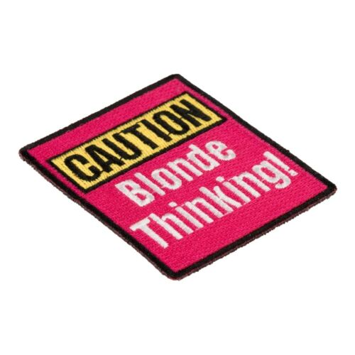 Funny Ladies Patches Blonde Thinking Patch Caution